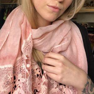 Pink Viscose Rose Lace Scarf